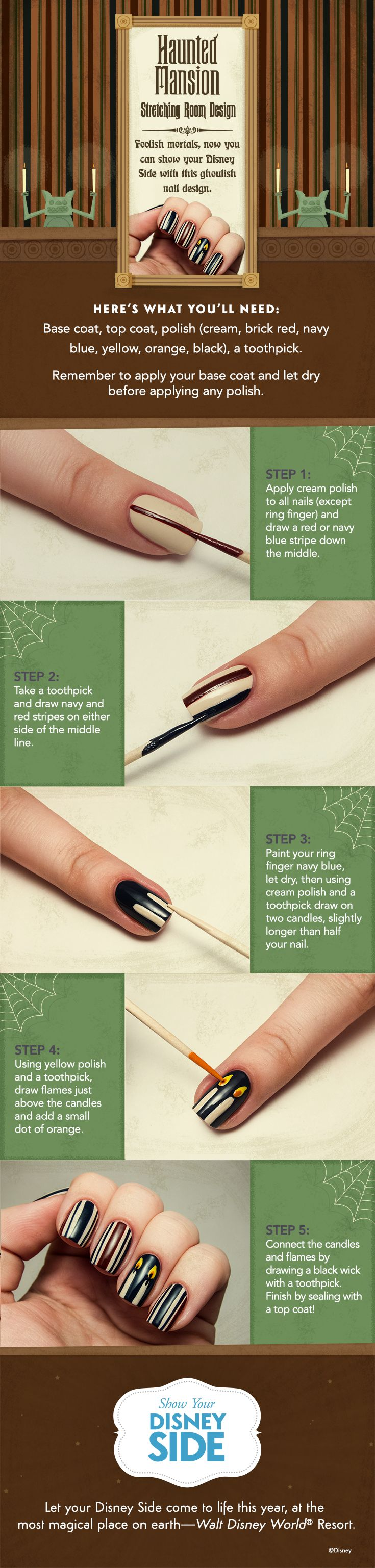 Haunted Mansion DIY Nail Tutorial. Click for more ways to Show your #DisneySide #WaltDisneyWorld