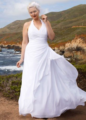 Chiffon Halter Soft Gown with Side Drape - Davids Bridal