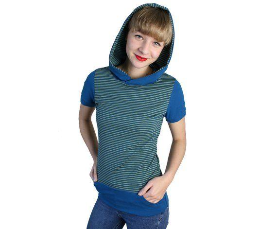 Shirt Kapuze Streifen Kapuzenshirt Blau Kiwigrun Sweatshirt Kapuze Handgemachte Mode Aus Berlin Damen Top Frauen Obertei Mode Modestil Minimalistische Mode