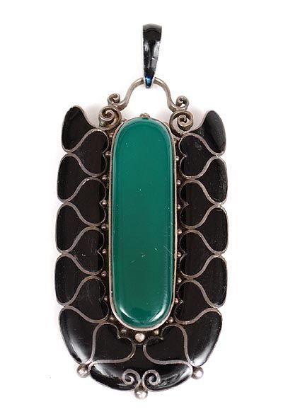Found on www.botterweg.com - Silver secessionist pendant with black enamel and large nephrite in the middle designer execution unknown ca.1905