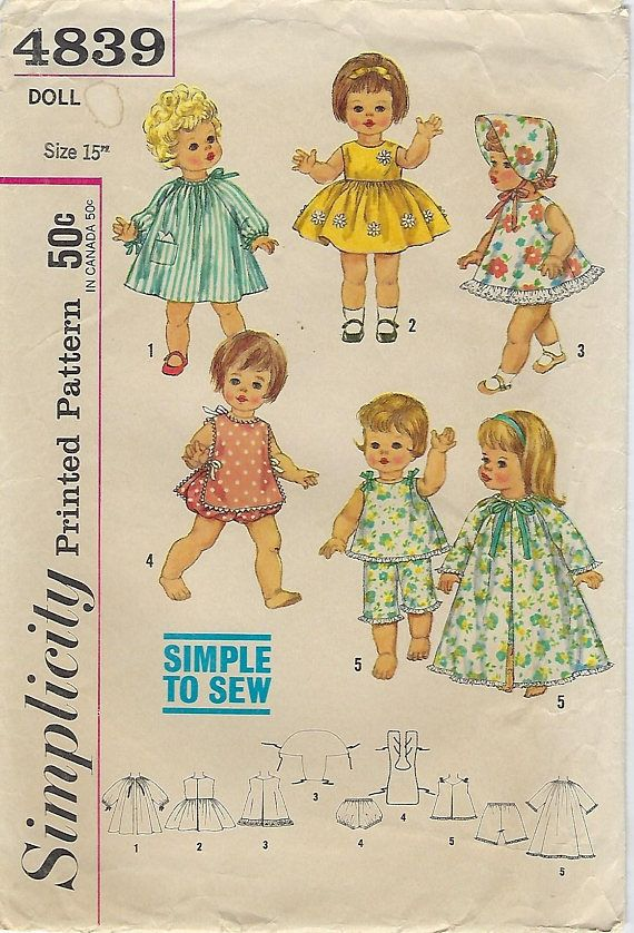 Simplicity 4839 Simple To Sew Doll Pattern Size 15 Doll Clothes Patterns Baby Doll Clothes Patterns Doll Sewing Patterns