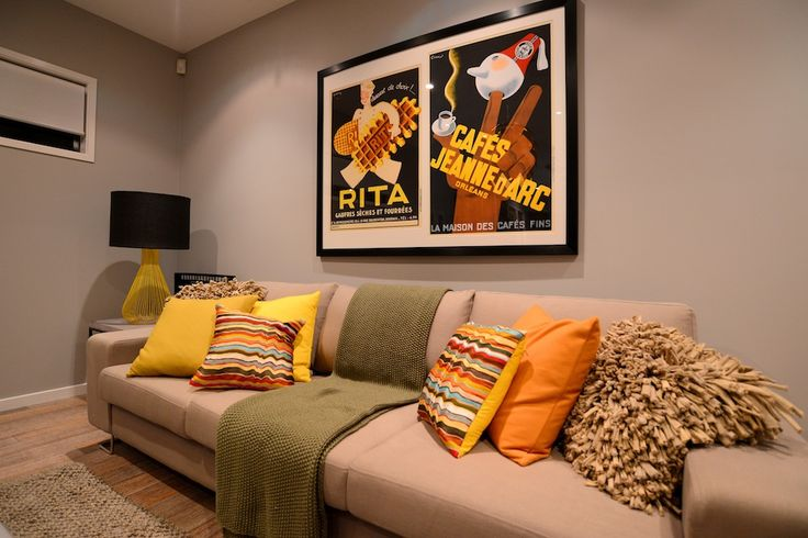 Media Lounge Detailing, scatter cushions and wall art.
