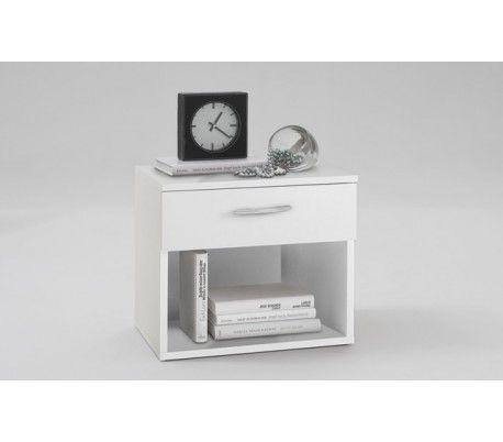 Sengebord i et design af hvid mdf med 1 skuffe til opbevaring. Find billige sengeborde hos Lepong og få billig eller gratis fragt