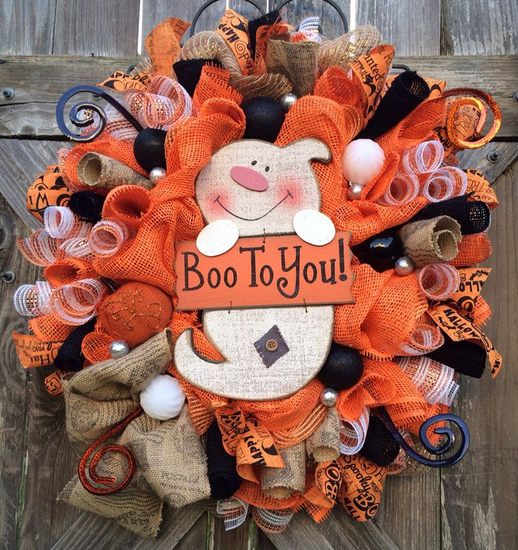 Halloween Mesh Wreath Halloween Decoration by BaBamWreaths on Etsy, $89.00