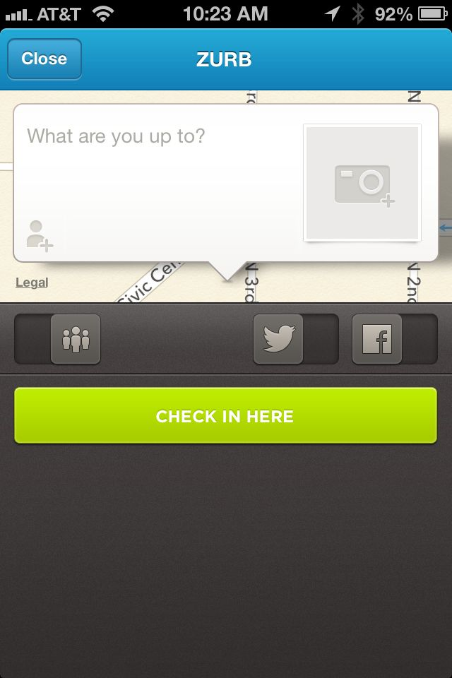 Checkin Screen from Foursquare › PatternTap