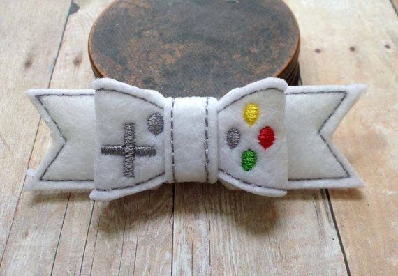 Hey, I found this really awesome Etsy listing at https://www.etsy.com/listing/186486577/video-game-gamer-felt-bow-hair-clip