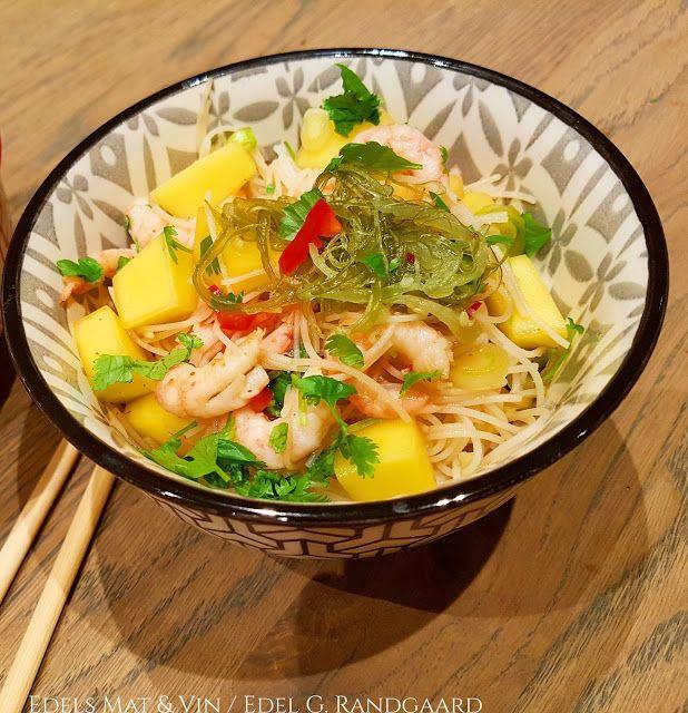Edels Mat & Vin: Nudelsalat med mango, reker og wakame