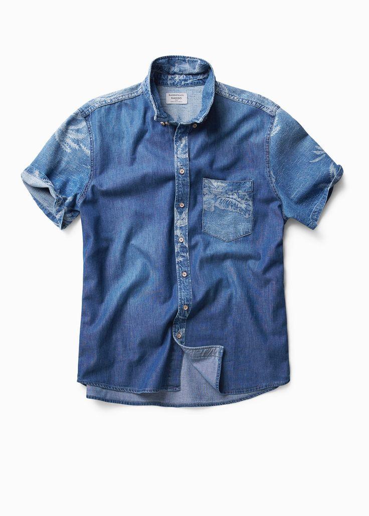 Camisa regular-fit denim floral