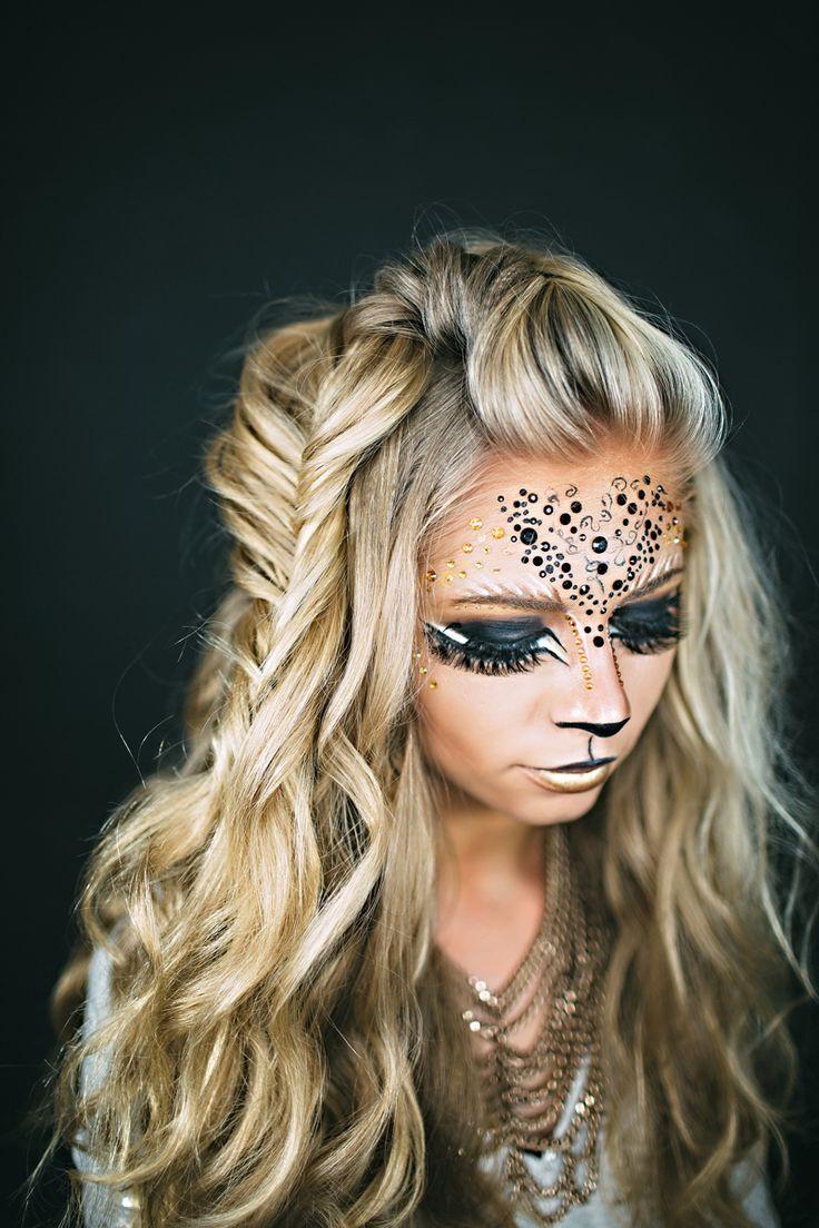 halloween lion lioness makeup and costume Fish tail braid www.jessakae.com/blog/lioness