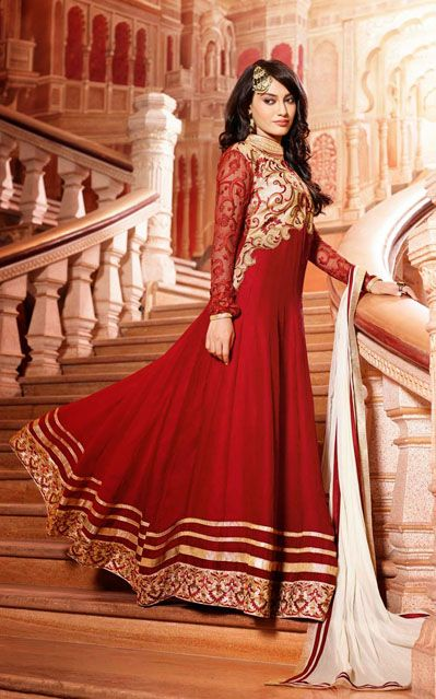 USD 90.85 Surbhi jyoti Crimson Floor Length Anarkali Suit  35149 http://quizans.com    Plzz like n share this page