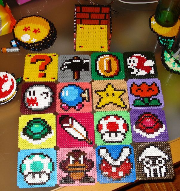 Super Mario coasters set hama beads by Maria Diz - which I would like to remake in LEGO.