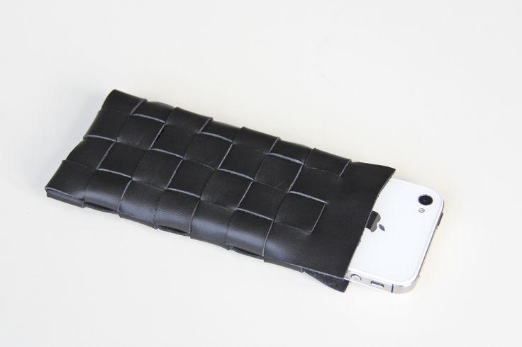 M I S B E H A V E leather Iphone sleeve black
