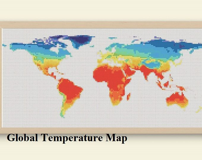 The 25 best world temperature map ideas on pinterest world world map cross stitch pattern floral world map silhouette flowers counted cross stitch chart modern gumiabroncs Image collections