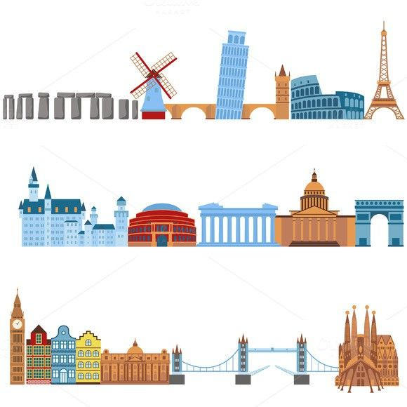 Eurotrip tourism buildings vector. $5.00