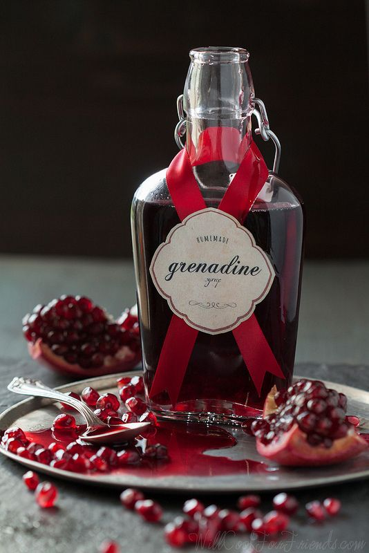 Homemade Grenadine Syrup (super easy, and doesn't have any corn syrup or food coloring like the store bought stuff) via Will Cook For Friends