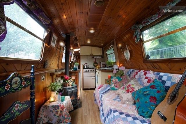 Cosy lounge with sofa bed & kitchen. | Narrowboat Love | Narrowboat interiors, Canal boat ...
