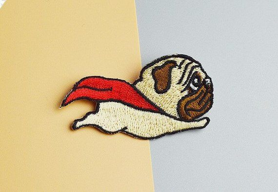 Patch Iron-On or Sew-On Flying Pug Embroidered Applique Dog Puppy
