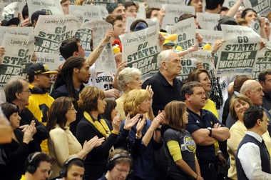 MSU coach Tom Izzo 'glad' Brady Hoke sat courtside for Michigan's spanking at Breslin Center