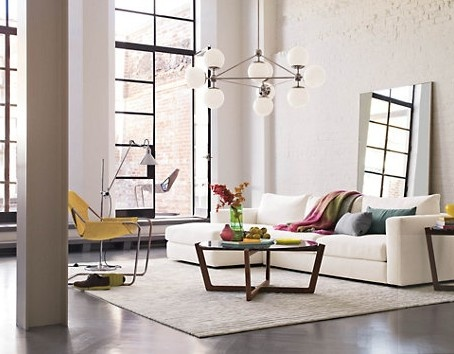 stained concrete floor, white walls, industrial windows, clean/simple/minimalist decor.... perfection