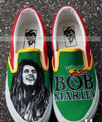 Custom Bob Marley Shoes Slip-on Painted Canvas Shoes