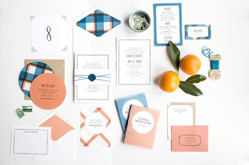 bright and simple wedding invitation suite by hello tenfold