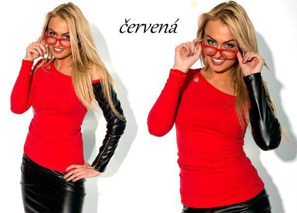 SUPER halenka s koženým rukávem zip Zipp 3587 > varianta Červená > Univerzální S/M/L