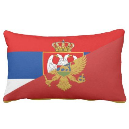 serbia montenegro flag country half symbol lumbar pillow - country gifts style diy gift ideas