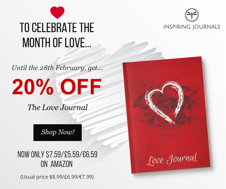<3 To celebrate the month of Love, get a LOVEly 20% discount on the Love Journal until the 28th February.  Journal about the things you love, your couple, your love life or about the perfect partner you want to attract in your life.  Shop now on Amazon: http://amzn.to/2lGFZC3   (discount already applied)  #valentinesday #love #lovejournal