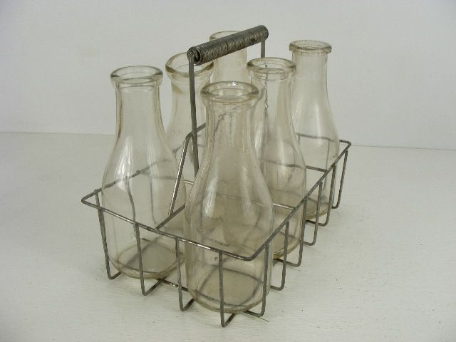 vintage old antique milkman milk bottle carrier and six milk bottles