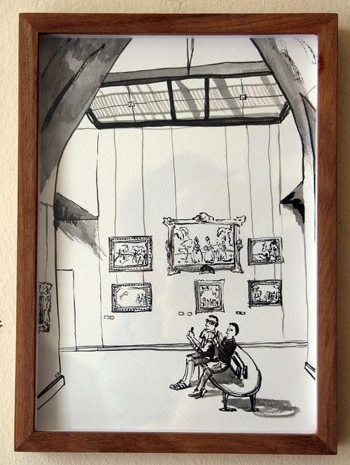 'A Space to Breathe, Louvre'   Ink Drawing & Watercolour 290 x 210 m  m R 2 200 SOLD