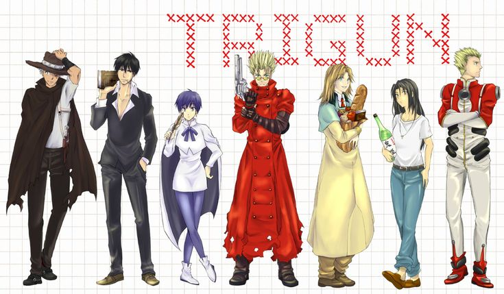 Left to right: Livio the Double Fang, Nicholas D. Wolfwood, Meryl Stryfe, Vash the Stampede, Milly Thompson, Rem Saverem, and Millions Knives - Trigun