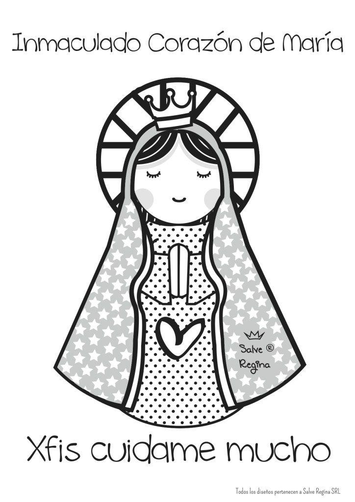Dibujos Para Colorear De La Virgen De La Inmaculada Virgen Maria
