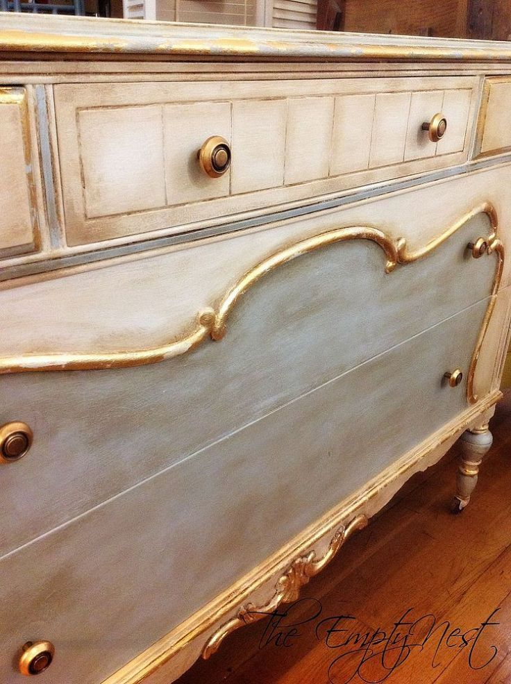 Chalk Paint® Decorative Paint by Annie . Pure White and a custom mix of Pure white and Louis Blue...clear and lots of dark wax