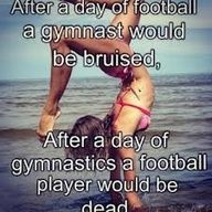 After a day of football an gymnast would be bruised. After a day of gymnastics a football player would be dead