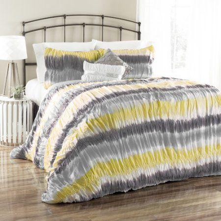 Bloomfield Tie Dye Comforter 5-Piece Bedding Comforter Set, Yellow/Grey, Gray