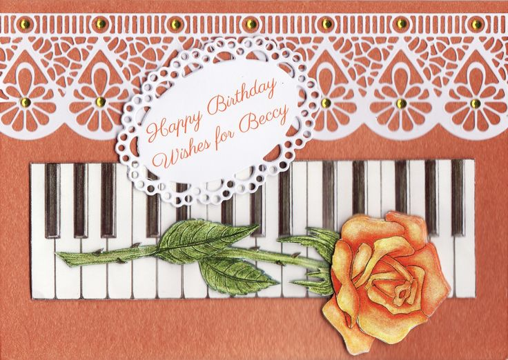 3D orange rose 'Happy Birthday Wishes for Beccy' Card (by Tassie Scrapangel)
