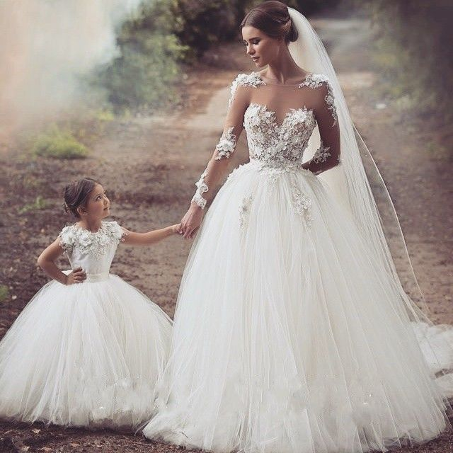 Romantic White Tulle Puffy A-Line Wedding Dresses 2015 Transparent Sheer Long Sleeve with Appliques Bridal Dress Mother Daughter
