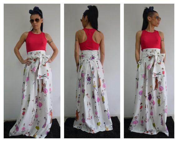 Printed long skirt / Printed skirt maxi / by ClothesByLockerRoom