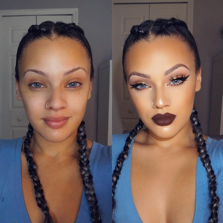 """Perfect before and after .. Inside /Out.. Juvia's Nubian Palette on the eyes . @viva_glam_kay"""