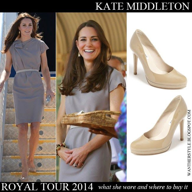 Kate Middleton Duchess of Cambridge in belted grey dress with taupe patent leather platform pumps