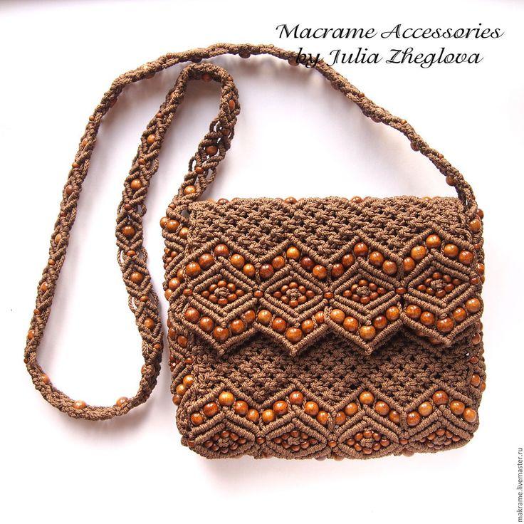 """Купить Сумочка """"Рябина"""" коричневая с золотисто-коричневыми бусинами, макраме - коричневый, сумка, сумочка"""
