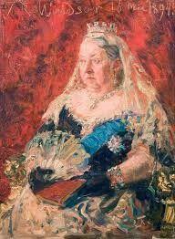 Laurits Tuxen 1894  Dronning Victoria. Forarbejde til hertugens af Yorks bryllup. 41x30,5cm Den Hirschsprungske Samling