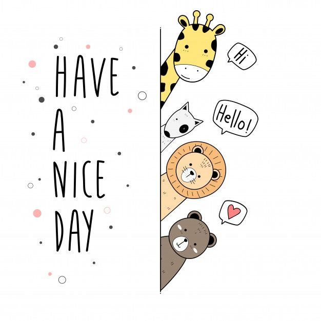 Cute animals cartoon doodle card poster wallpaper …