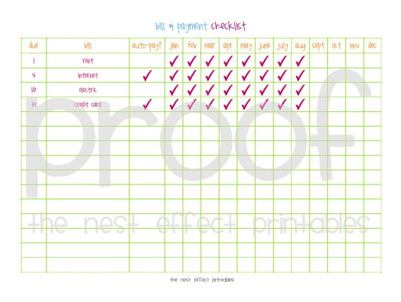 Like This Bill Paying Chart  Home Binder    Chart