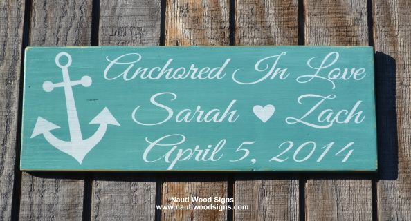 """Welcome to our shop!  This is a hand painted wooden sign - absolutely no vinyl used on reclaimed wood.   Anchored In Love with the couples names and wedding date.       All signs are painted on the back, clear protection coat applied and a hanger put on before shipping.    Size of sign 20""""x7""""    Colors are rustic, teal green or distressed navy blue with white painted lettering.    Have a great day!"""