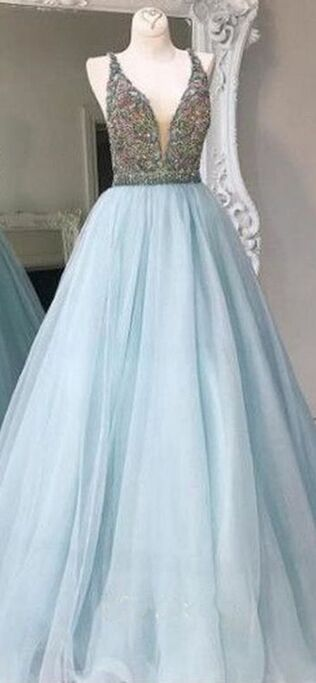 Ball Gown Prom Dresses,Beautiful Prom Dresses,Classy V-neck Long Prom Dresses,Light Blue Prom Dress,Nice Graduation Dresses,Quinceanera Dresses,Backless Party Dresses