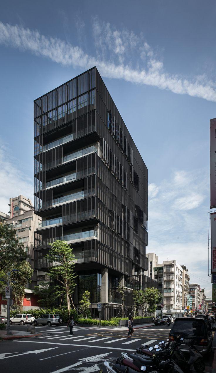 Ray Chen + Partners Architects - HOTEL PROVERBS TAIPEI hotel appartementen kantoren toren gevel compositie zwart screen zonwering