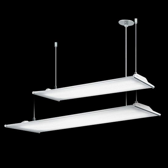 Dimmable and programmable using the DALI controller. High-performance, low-consumption 230V fluorescent cable-mounted or suspended luminaires. Diffused and indirect emission for visually very comfortable general lighting. Electronic ballast with DALI protocol. 2x39W and 2x54W.