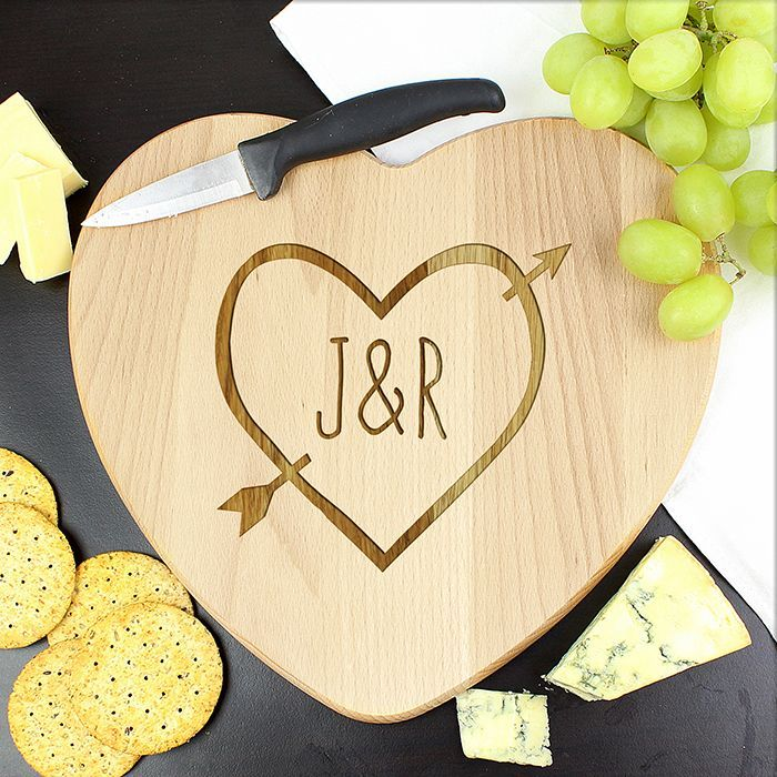 Personalised Wood Carving Heart Chopping Board - practical gift for the kitchen.