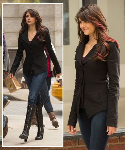 Elena's black blazer and lace up boots on The Vampire Diaries.  Outfit Details: http://wornontv.net/13704/ #TheVampireDiaries